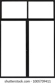 Large Clear Isolated Glass Window Door, Modern House Black Element, Empty Office  Pane