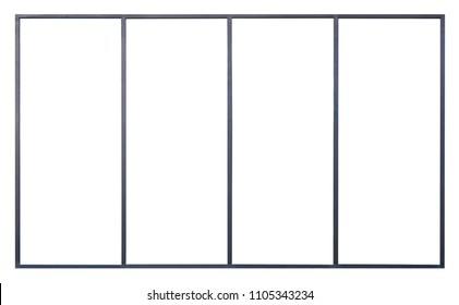 Large Clear Isolated Metallic Glass Window, Modern Black Pane for Stores display,