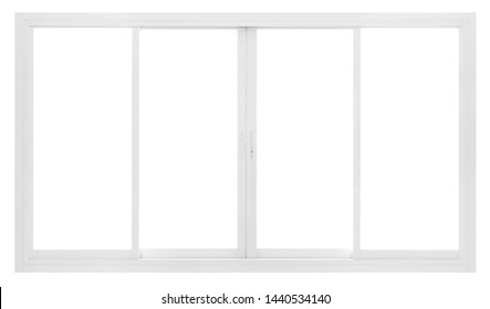 Large Clear Isolated Slide PVC Office Windows for Design, Modern Interior House Building Empty White Frame Decoration