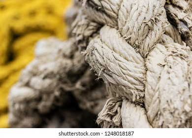 Large Coil of Painted Rope Selective Focus