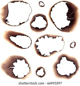 Large Collection of Burnt Holes in White Paper - Completely isolated on white