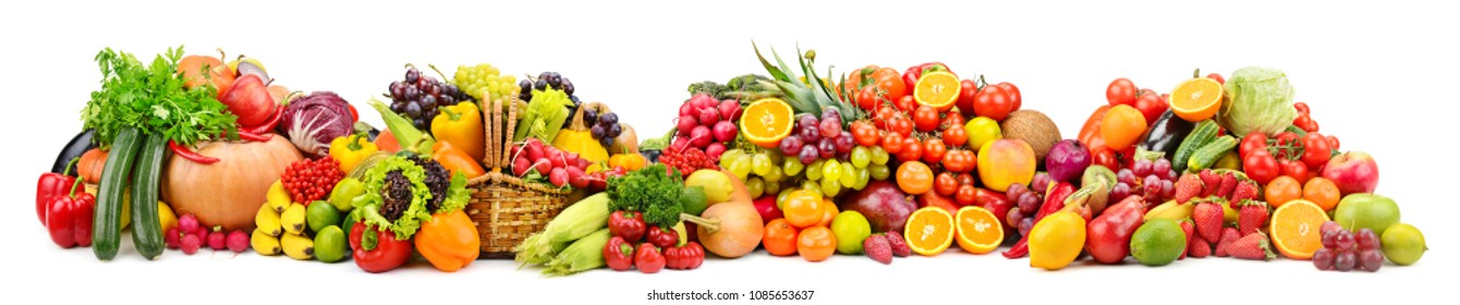 Large collection fresh fruits and vegetables useful for health isolated on white background.