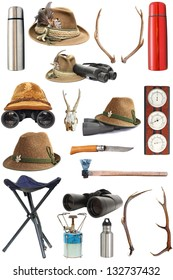 large collection of hunting and outdoor traditional equipment over white background