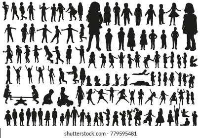 large collection of silhouettes of children