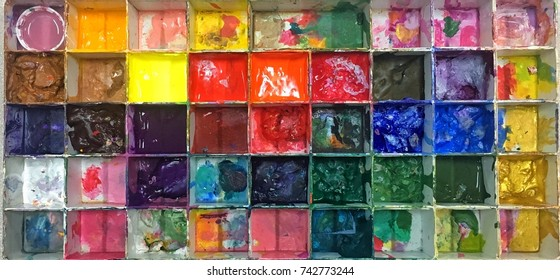 Large color palette of colors for painting