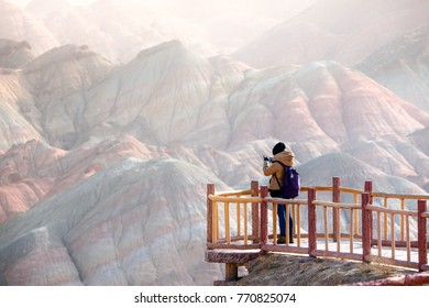 Large colorful mountains in China