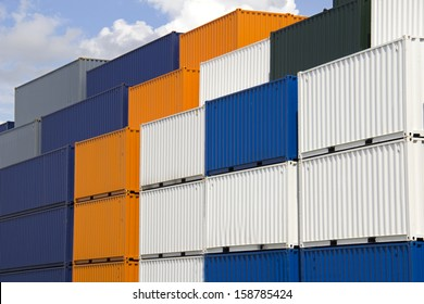 Large colorful sea containers stacked in the harbor of Rotterdam, Holland