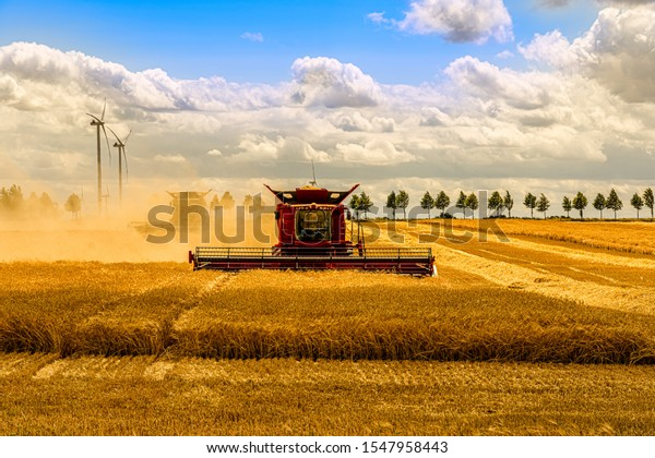 Large combine harvester mowing a cereal field