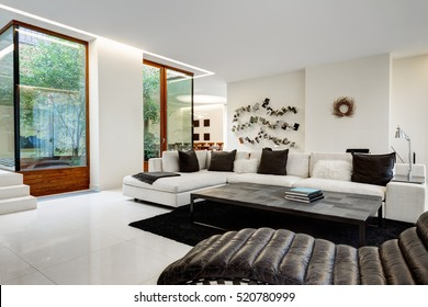 Large and comfortable living room with a white sofa in a luxurious mansion with a winter garden