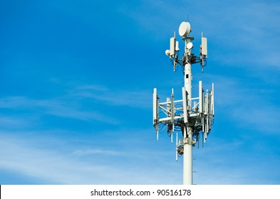 A Large Communications Tower on a Blue Sky