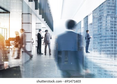 Large company lobby with business people walking. A cityscape is in the foreground. 3d rendering toned image double exposure