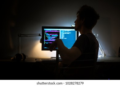 Large computer display in dark room
