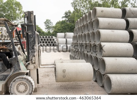 Large Concrete Construction Pipes Underground Water Stock Photo