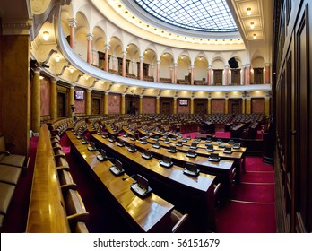 Large conference hall in Serbian Parliament building