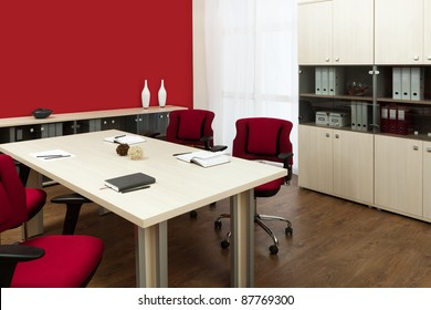 large conference table in a modern office