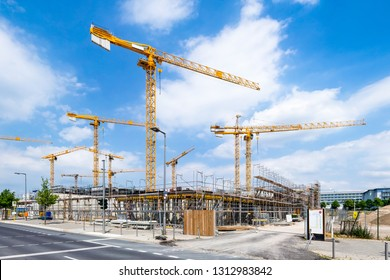 Large construction area with construction cranes