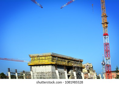 The large construction site for the construction of a skyscraper in a European city.