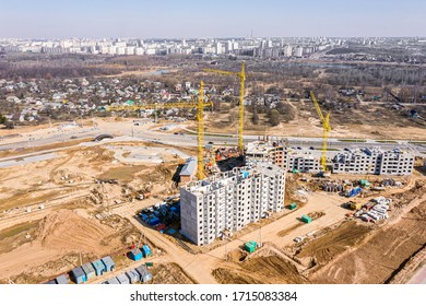large construction site viewed from above. new residential area under construction