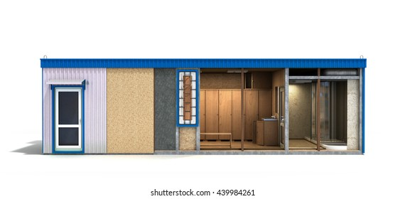 large container building for workers in a cut with an inner filling 3d render