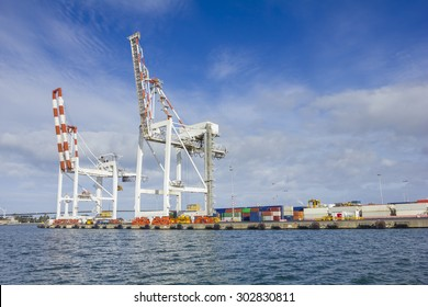 Large container cranes at Swanson Dock in the Port of Melbourne, Australia
