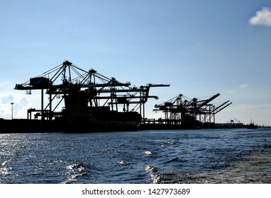 A large container loading facility with gantry cranes seen in silhouette