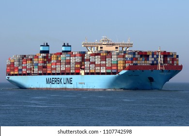 The large container ship Merete Maersk reaches the port of Rotterdam on May 6, 2018.