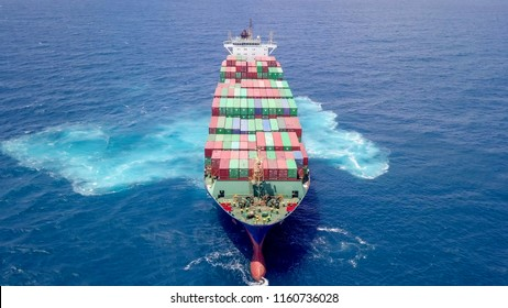 Large container ship at sea - Aerial Image