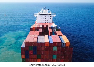 Large container ship at sea - Top down Aerial image of container bulks