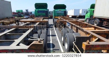 Large container trailer chassis used for transporting shipping containers