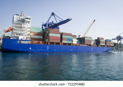 large container vessel unloaded in port of istanbul haydarpasa