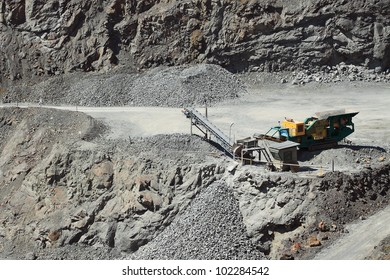 A large conveyor belt in the stone mine