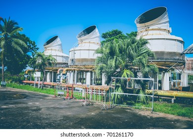 Large cooling tower outside the hospital building