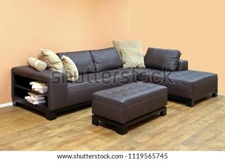 Large Corner Leather Sofa Book Case Stock Photo Edit Now