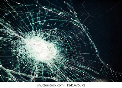 large cracks on the glass from impact