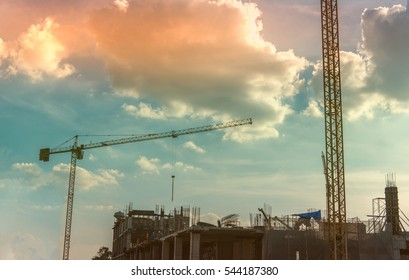 Large crane and construction of building
