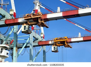 Large cranes used for loading containers on to ships