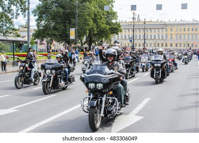 A large crowd of motorcyclists on the road. St. Petersburg, Russia - 13 August, 2016. The annual parade of Harley Davidson in the squares and streets of St. Petersburg.
