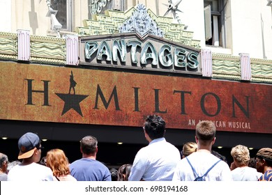 Large Crowds show up to The Pantages Theatre for opening night of The Play Hamilton in Hollywood, California on Wednesday August 16, 2017.