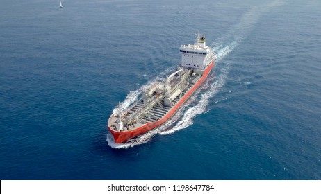 Large crude oil tanker roaring across The Mediterranean sea - Aerial image
