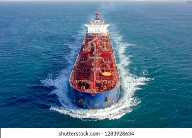 Large crude oil tanker roaring across The Mediterranean sea - Aerial image.