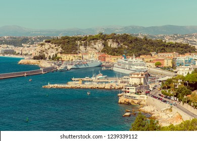 Large cruise liners in the port of Nice, France