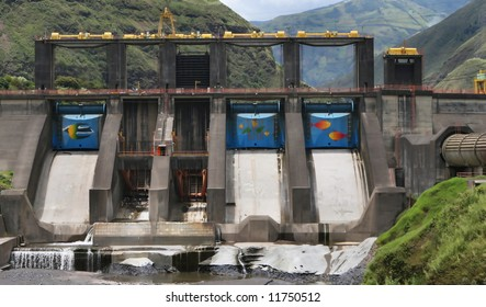 A large dam project is undergoing repairs near Banos, Ecuador