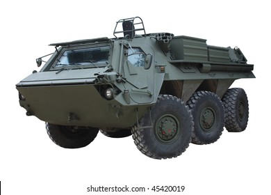 A Large Dark Green Military Armoured Vehicle.