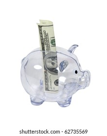 Large denomination of money in a clear piggy bank used to save change for a future purchase - path included