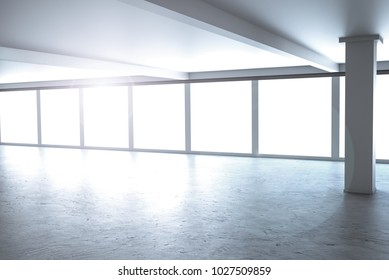 large designer office window to bright sky