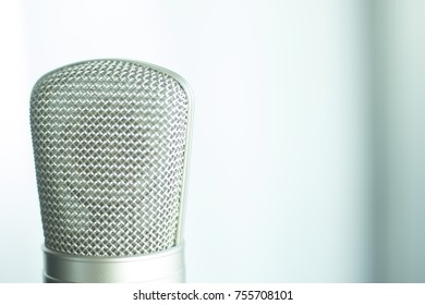 Large diaphragm condenser studio recording voice microphone to record professional voiceovers, singing and dubbing