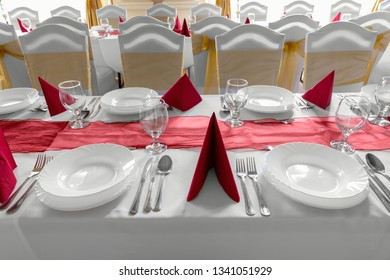 Large dining hall with tables set up