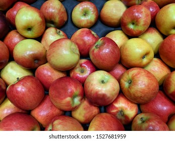 Large display of bulk apples of the Jazz type, locally grown, with minor damage.Jazz apples in bulk and unsorted, stored  for transport on a cardboard wholesaler's tray, Australian grown.