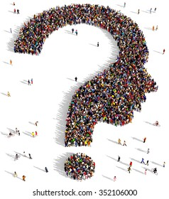 Large and diverse group of people gathered together in the shape of a human head question mark