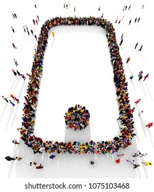 Large and diverse group of people seen from above, gathered together on a white background in the shape of a smartphone, top view perspective, 3d illustration.